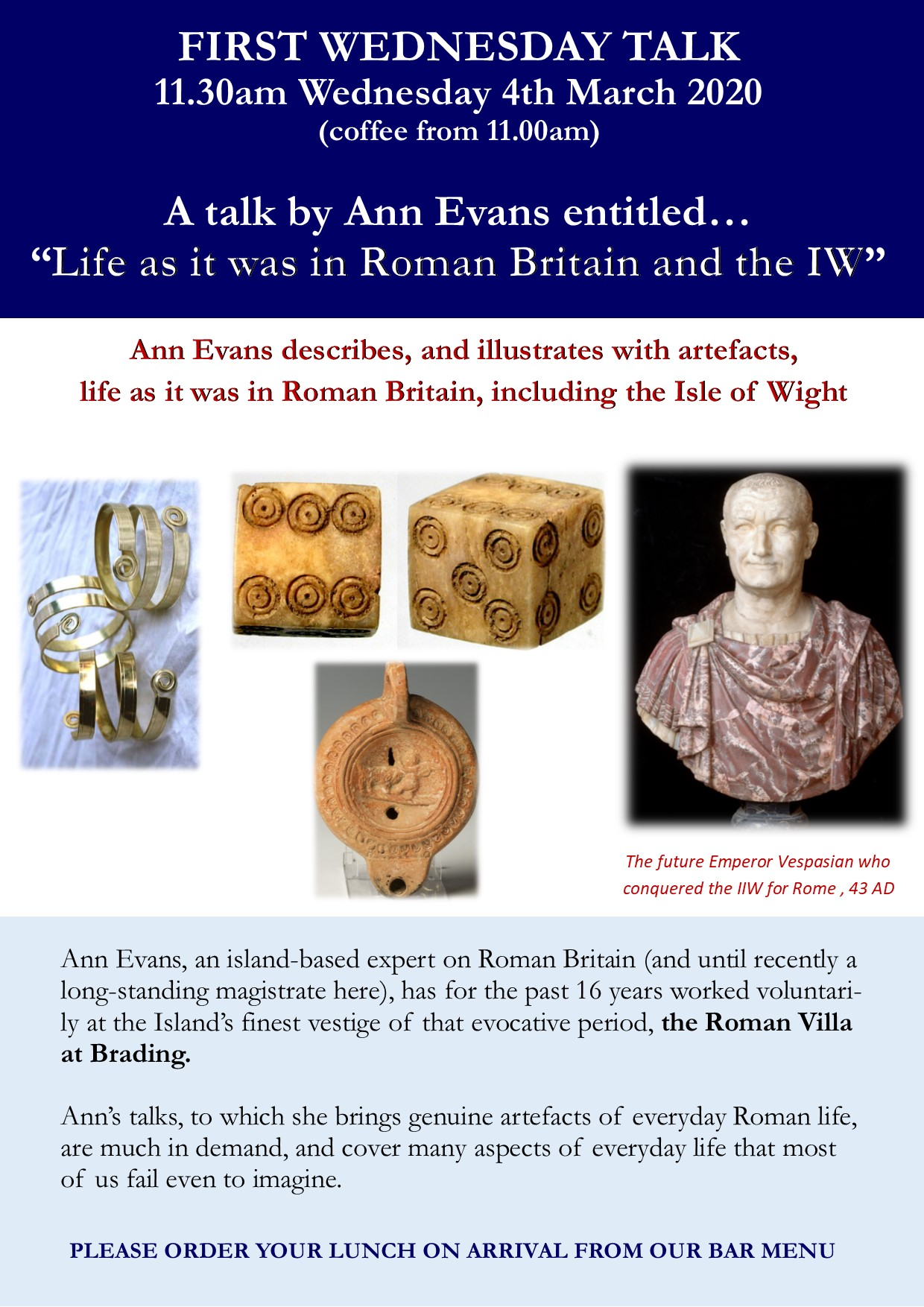 First Wednesday Talk - 'Life in Roman (and Vectian) Britain'