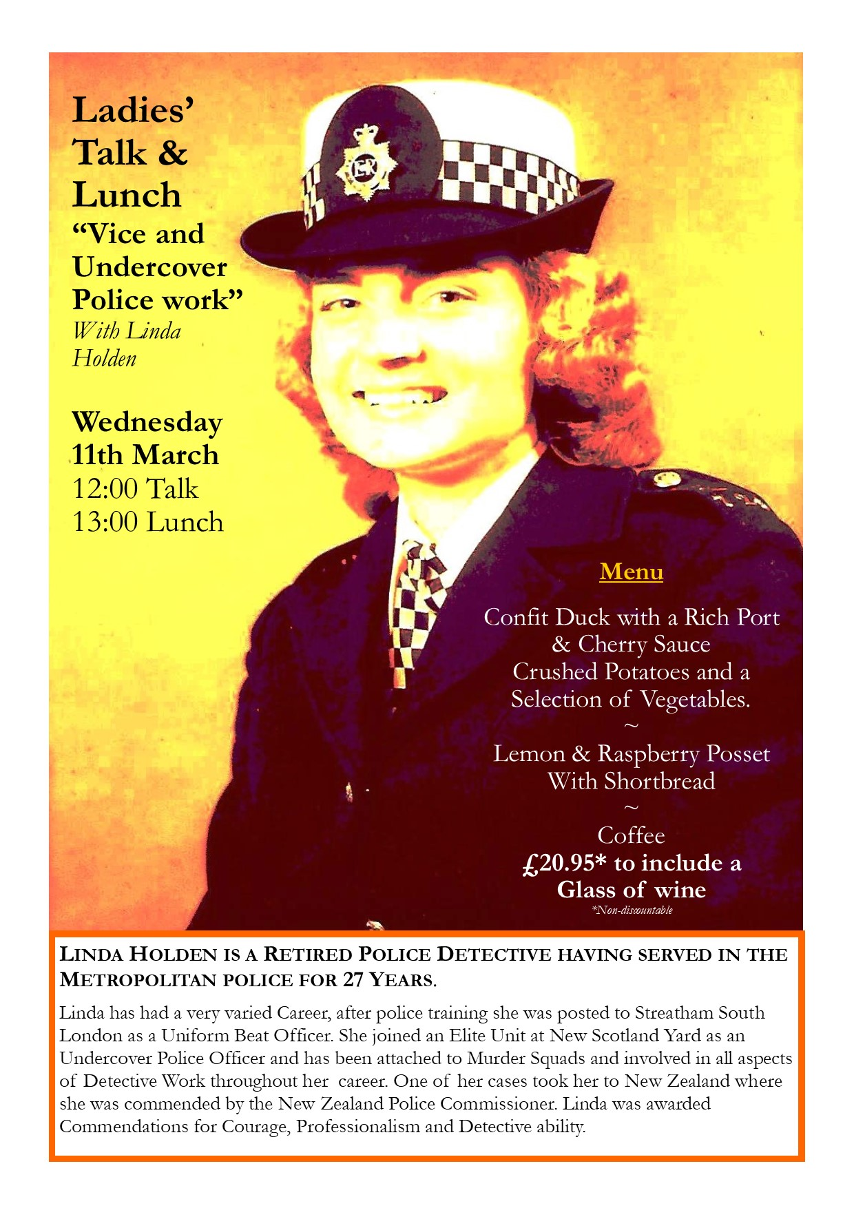 Ladies' Lunch & Talk - 'Vice & Undercover Police Work'