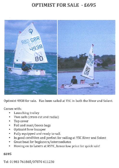 For Sale IOW Quick Sale Sailing Optimist RSYC