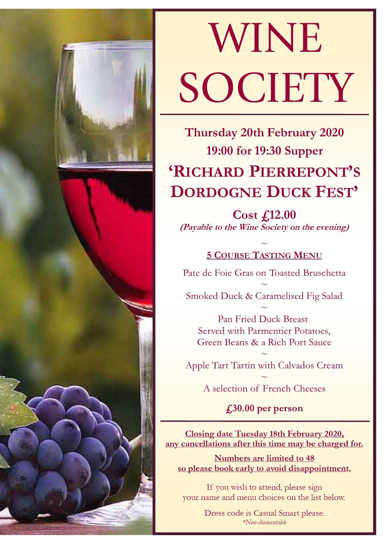 Wine Society 'Duck Fest'